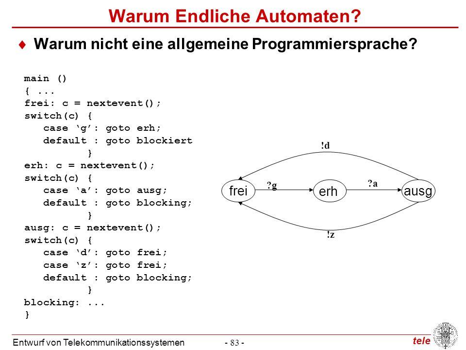 tele Entwurf von Telekommunikationssystemen- 83 - Warum Endliche Automaten?  Warum nicht eine allgemeine Programmiersprache? freiausg erh ?g ?a !d !z