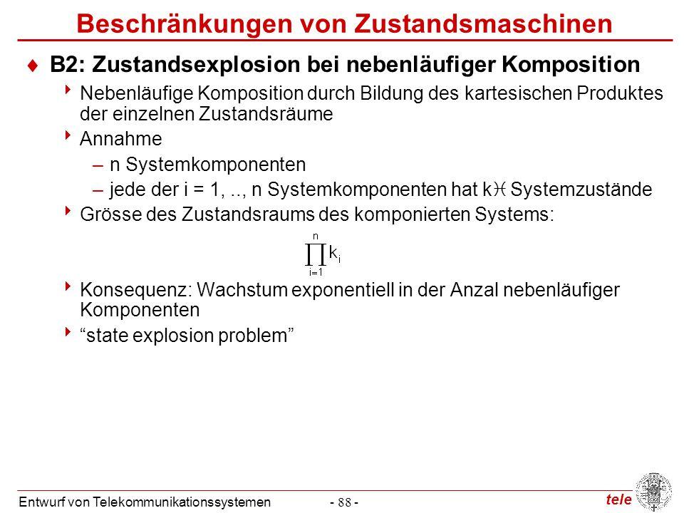 tele Entwurf von Telekommunikationssystemen- 88 - Beschränkungen von Zustandsmaschinen  B2: Zustandsexplosion bei nebenläufiger Komposition  Nebenlä