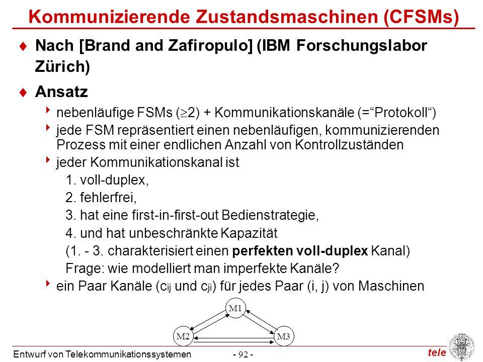 tele Entwurf von Telekommunikationssystemen- 92 - Kommunizierende Zustandsmaschinen (CFSMs)  Nach [Brand and Zafiropulo] (IBM Forschungslabor Zürich)