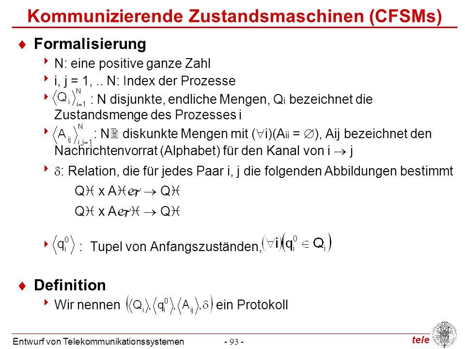 tele Entwurf von Telekommunikationssystemen- 93 - Kommunizierende Zustandsmaschinen (CFSMs)  Formalisierung  N: eine positive ganze Zahl  i, j = 1,