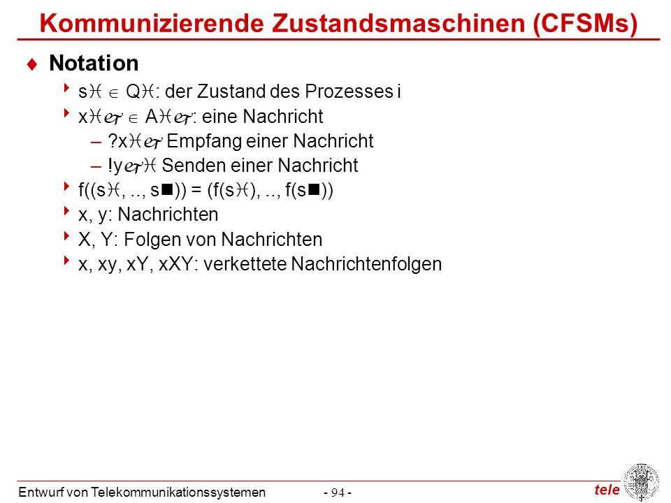 tele Entwurf von Telekommunikationssystemen- 94 - Kommunizierende Zustandsmaschinen (CFSMs)  Notation  s   Q  : der Zustand des Prozesses i  x 