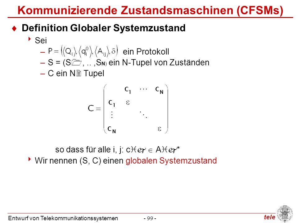 tele Entwurf von Telekommunikationssystemen- 99 - Kommunizierende Zustandsmaschinen (CFSMs)  Definition Globaler Systemzustand  Sei – ein Protokoll