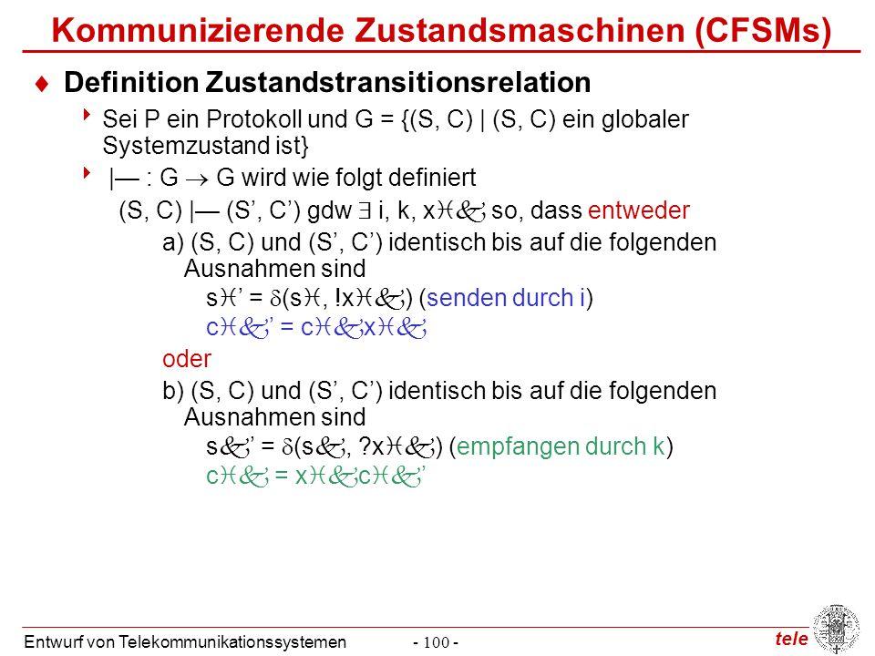 tele Entwurf von Telekommunikationssystemen- 100 - Kommunizierende Zustandsmaschinen (CFSMs)  Definition Zustandstransitionsrelation  Sei P ein Prot