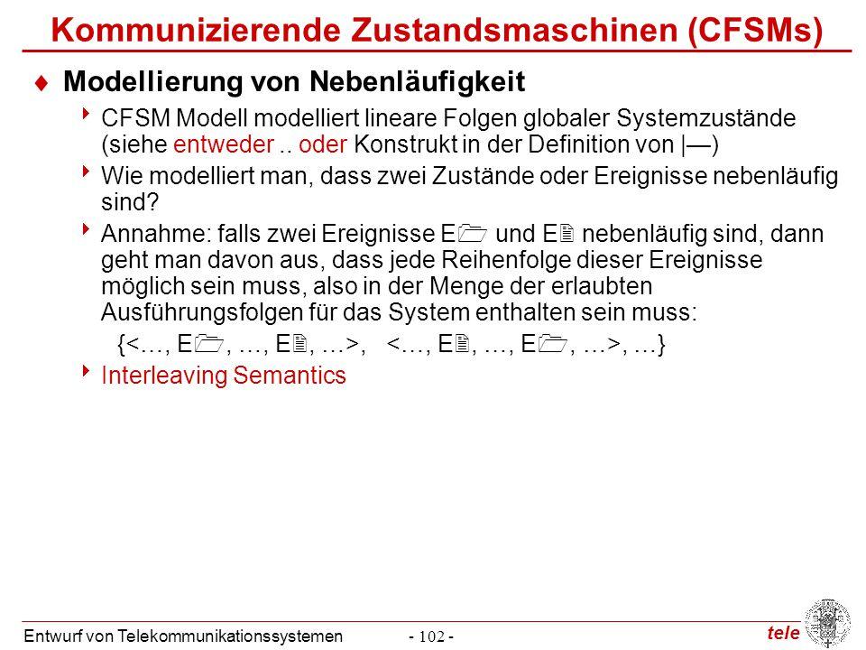 tele Entwurf von Telekommunikationssystemen- 102 - Kommunizierende Zustandsmaschinen (CFSMs)  Modellierung von Nebenläufigkeit  CFSM Modell modellie