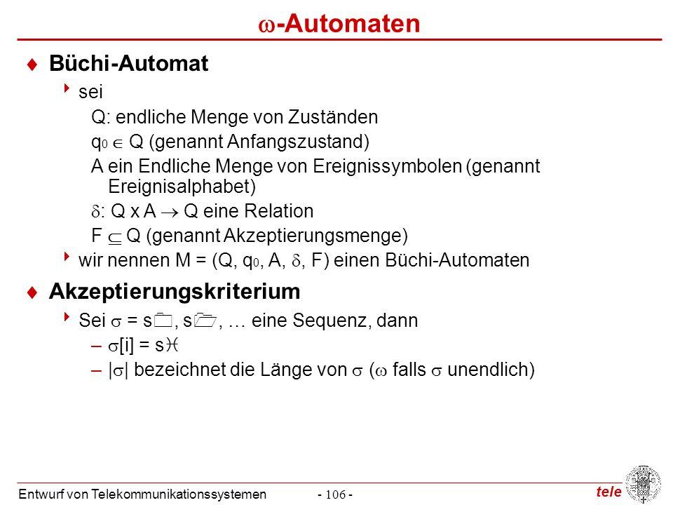 tele Entwurf von Telekommunikationssystemen- 106 -  -Automaten  Büchi-Automat  sei Q: endliche Menge von Zuständen q 0  Q (genannt Anfangszustand)
