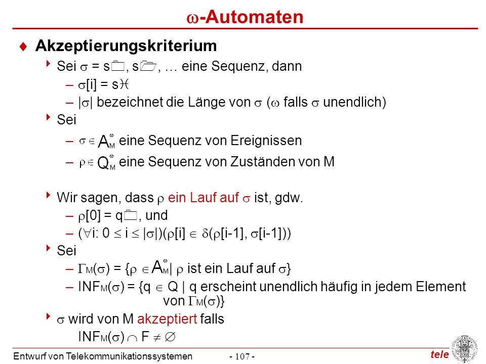 tele Entwurf von Telekommunikationssystemen- 107 -  -Automaten  Akzeptierungskriterium  Sei  = s , s , … eine Sequenz, dann –  [i] = s  –|  |