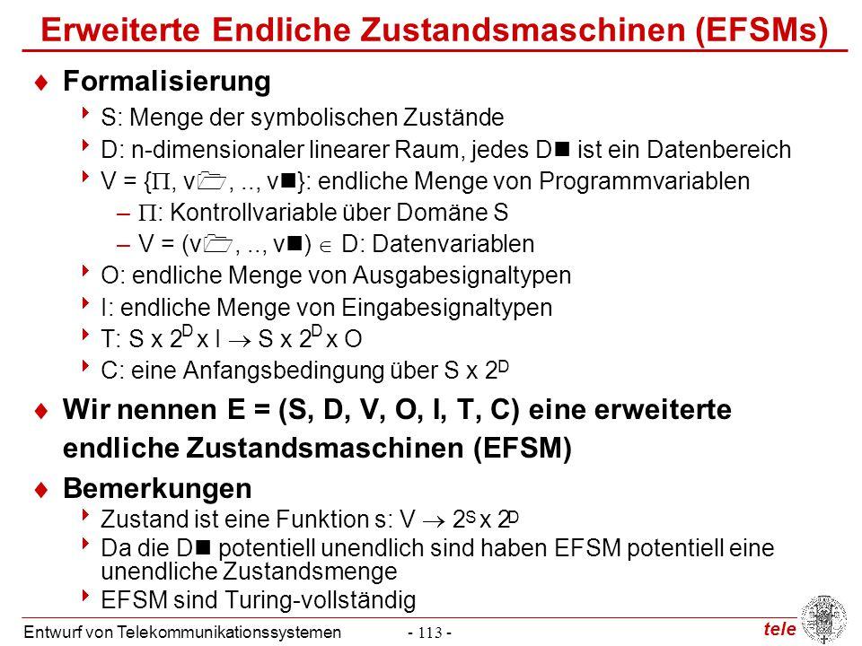 tele Entwurf von Telekommunikationssystemen- 113 - Erweiterte Endliche Zustandsmaschinen (EFSMs)  Formalisierung  S: Menge der symbolischen Zustände