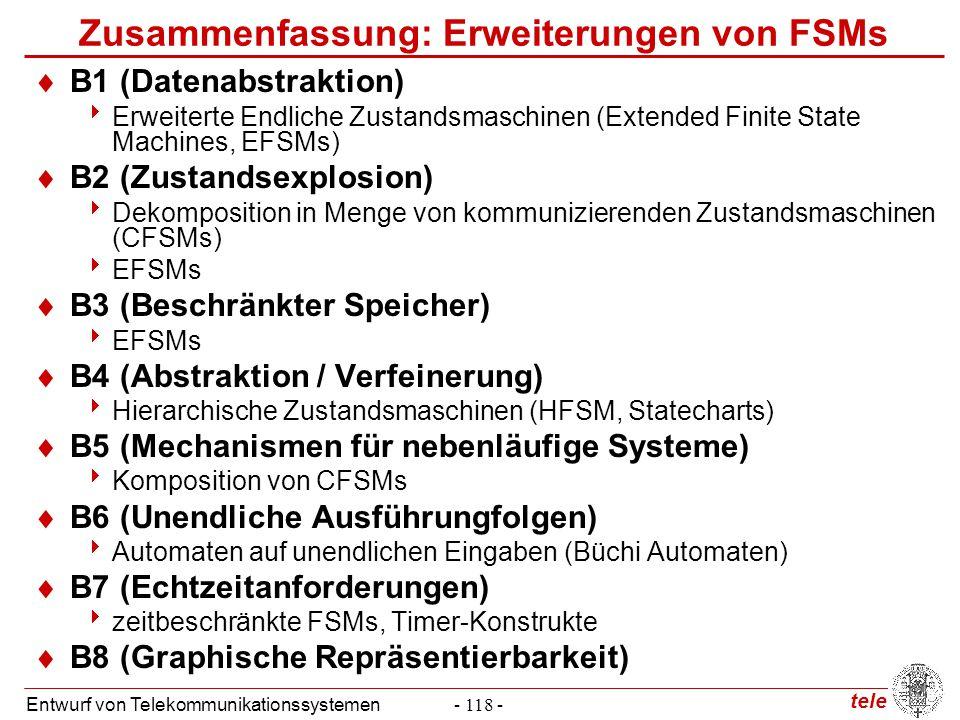 tele Entwurf von Telekommunikationssystemen- 118 - Zusammenfassung: Erweiterungen von FSMs  B1 (Datenabstraktion)  Erweiterte Endliche Zustandsmasch