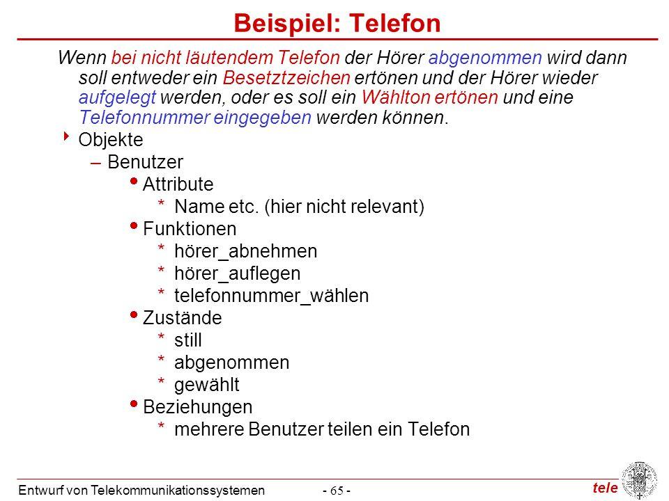 tele Entwurf von Telekommunikationssystemen- 65 - Beispiel: Telefon Wenn bei nicht läutendem Telefon der Hörer abgenommen wird dann soll entweder ein