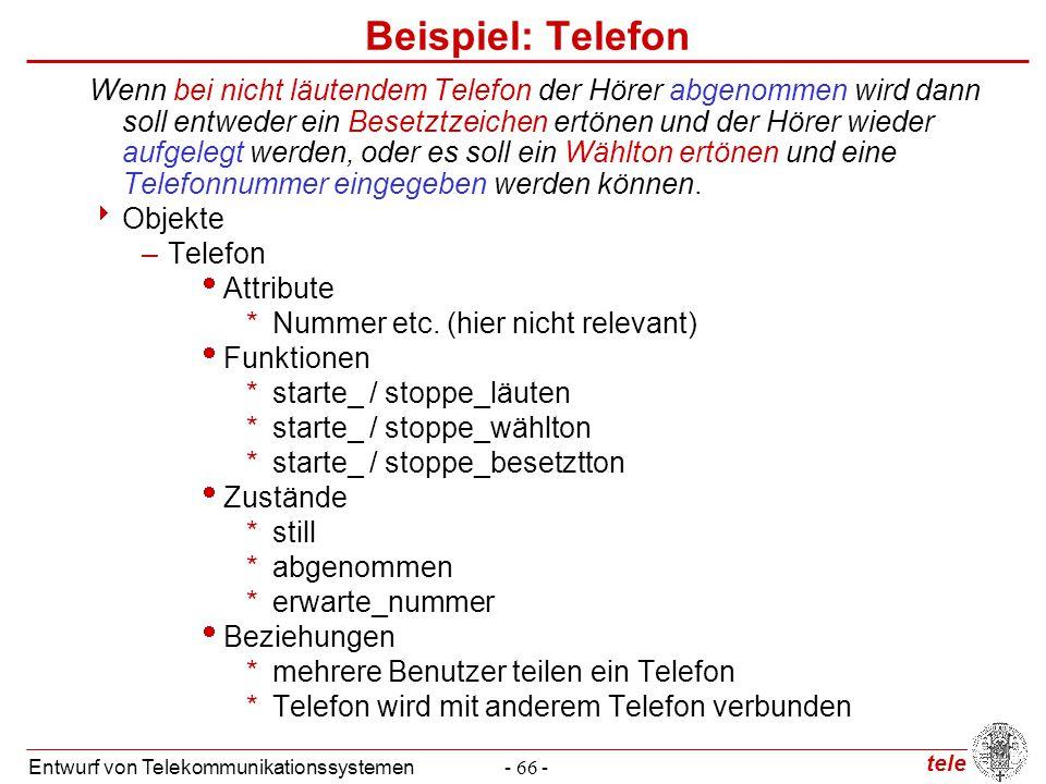tele Entwurf von Telekommunikationssystemen- 66 - Beispiel: Telefon Wenn bei nicht läutendem Telefon der Hörer abgenommen wird dann soll entweder ein