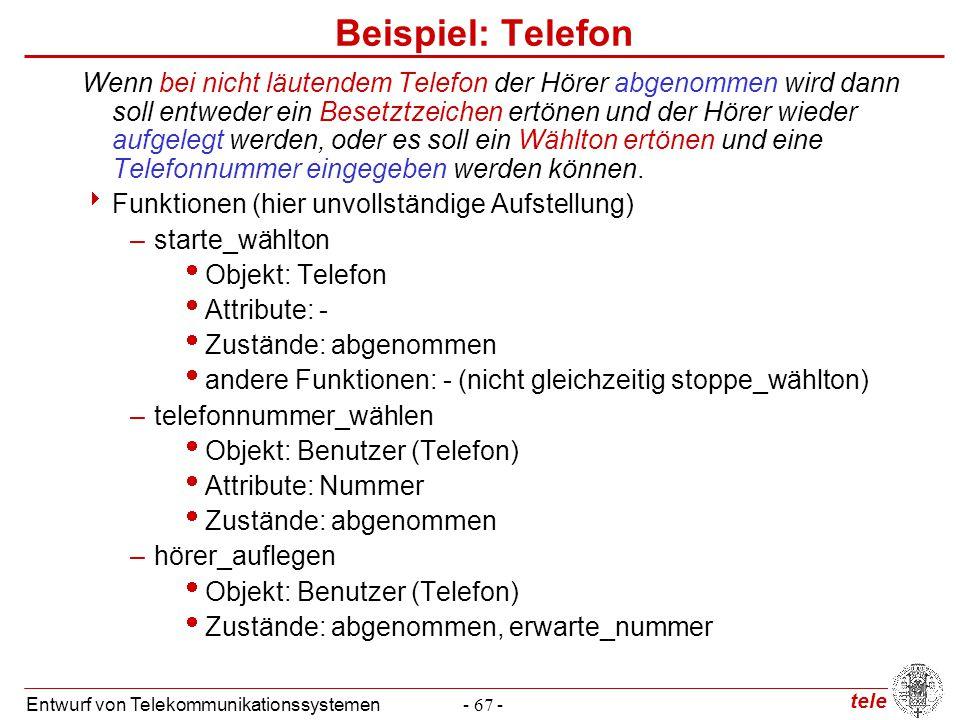tele Entwurf von Telekommunikationssystemen- 67 - Beispiel: Telefon Wenn bei nicht läutendem Telefon der Hörer abgenommen wird dann soll entweder ein