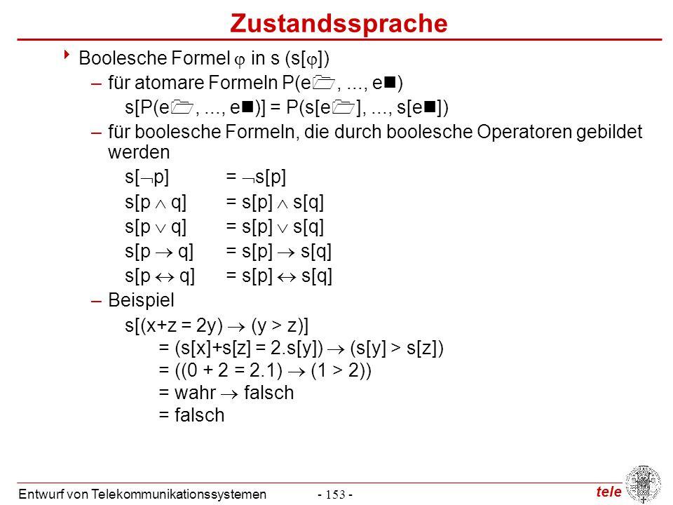 tele Entwurf von Telekommunikationssystemen- 153 - Zustandssprache  Boolesche Formel  in s (s[  ]) –für atomare Formeln P(e ,..., e ) s[P(e ,...,