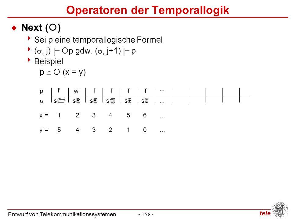 tele Entwurf von Telekommunikationssystemen- 158 - Operatoren der Temporallogik  Next (  )  Sei p eine temporallogische Formel  ( , j)   p gdw
