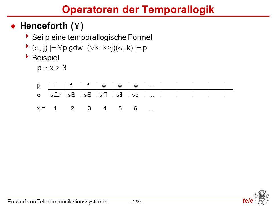 tele Entwurf von Telekommunikationssystemen- 159 - Operatoren der Temporallogik  Henceforth (  )  Sei p eine temporallogische Formel  ( , j)  