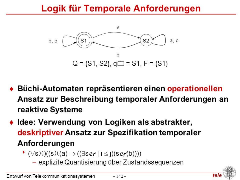 tele Entwurf von Telekommunikationssystemen- 142 - Logik für Temporale Anforderungen  Büchi-Automaten repräsentieren einen operationellen Ansatz zur