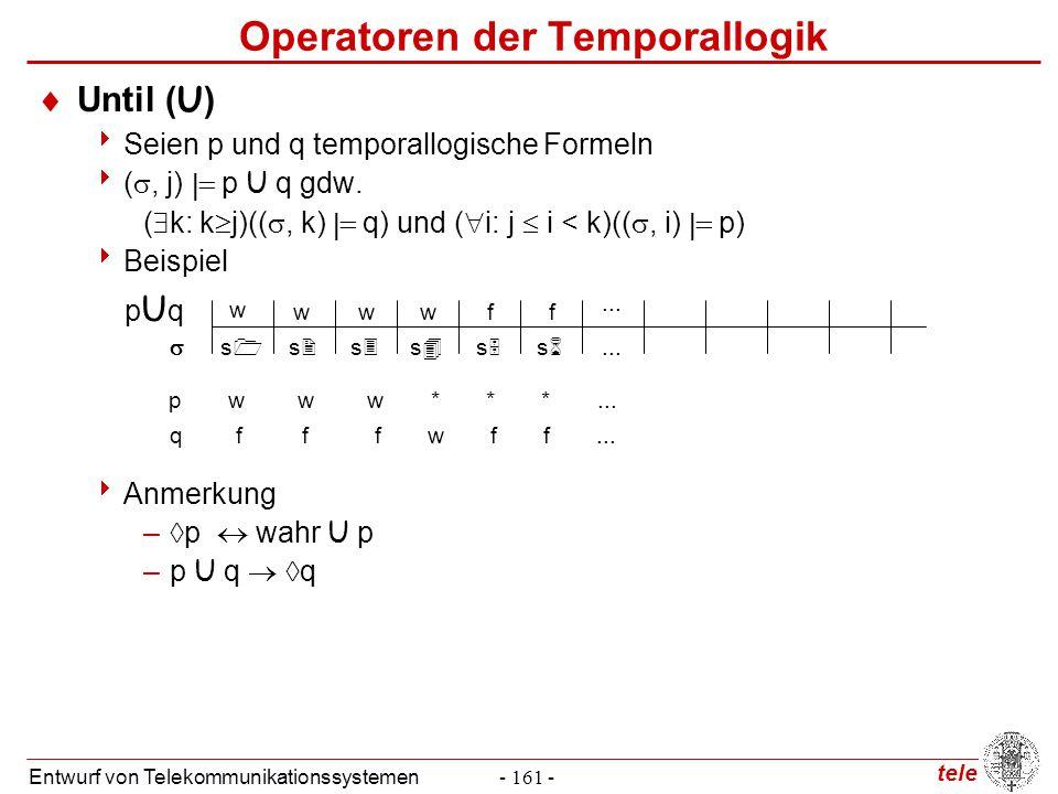 tele Entwurf von Telekommunikationssystemen- 161 - Operatoren der Temporallogik  Until (U)  Seien p und q temporallogische Formeln  ( , j)  p U