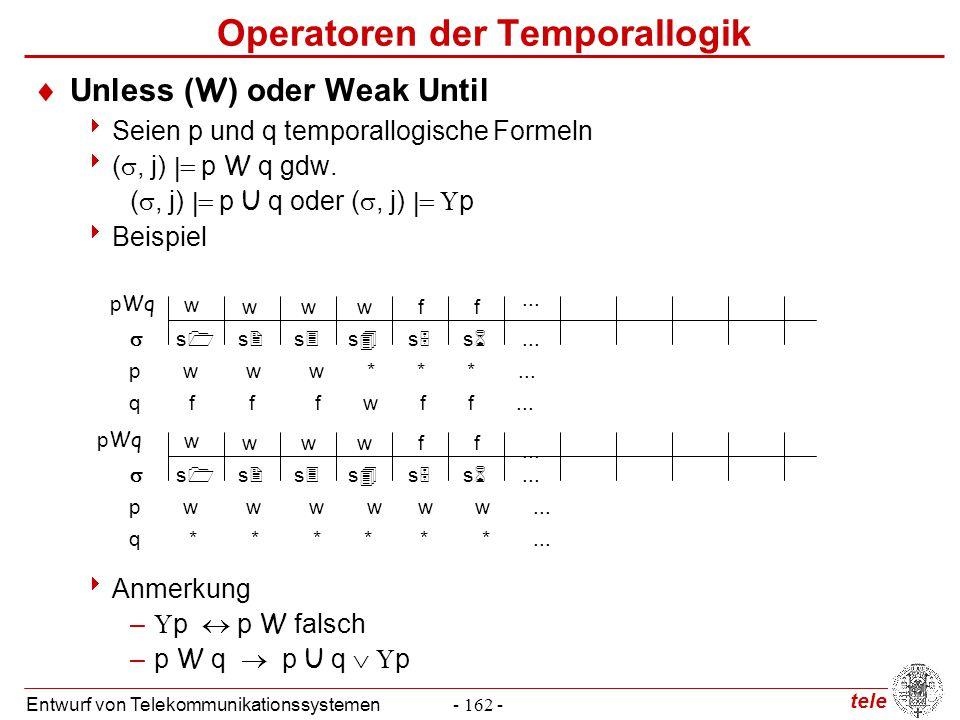tele Entwurf von Telekommunikationssystemen- 162 - Operatoren der Temporallogik  Unless (W) oder Weak Until  Seien p und q temporallogische Formeln