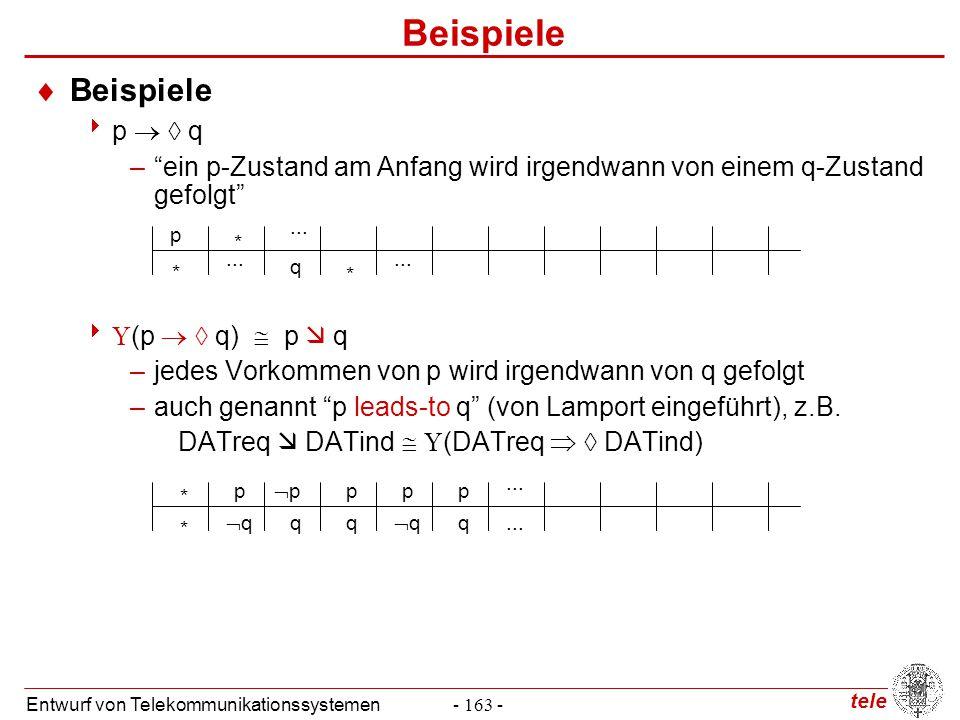 """tele Entwurf von Telekommunikationssystemen- 163 - Beispiele  Beispiele  p   q –""""ein p-Zustand am Anfang wird irgendwann von einem q-Zustand gefol"""