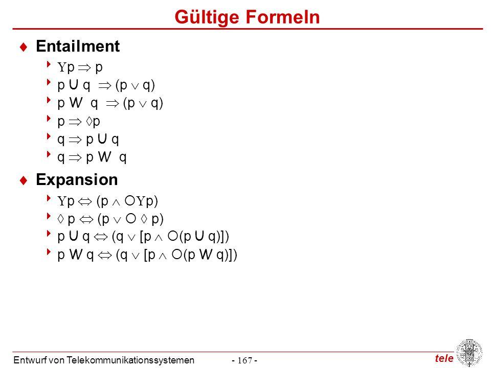 tele Entwurf von Telekommunikationssystemen- 167 - Gültige Formeln  Entailment   p  p  p U q  (p  q)  p W q  (p  q)  p   p  q  p U q 