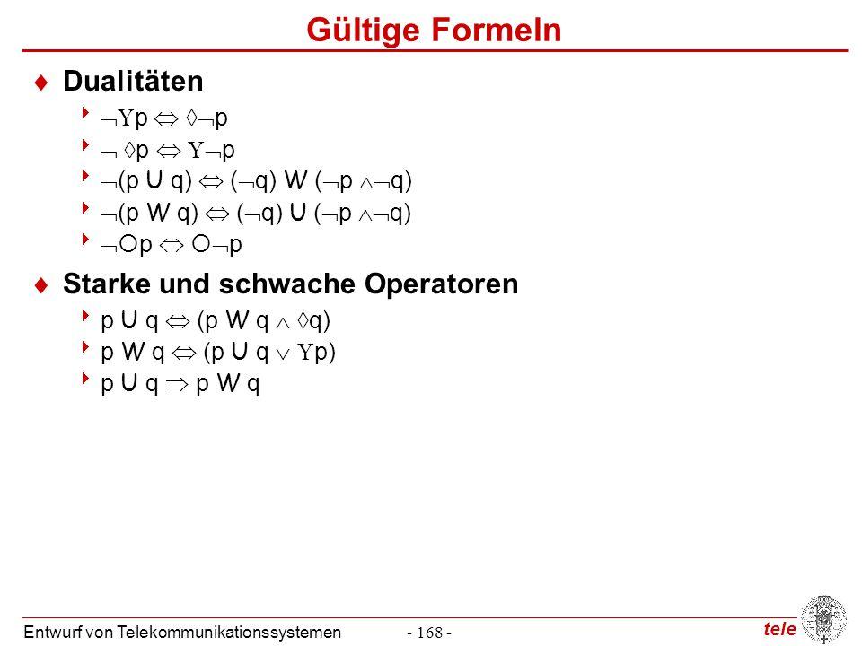 tele Entwurf von Telekommunikationssystemen- 168 - Gültige Formeln  Dualitäten    p   p    p    p   (p U q)  (  q) W (  p  q)  