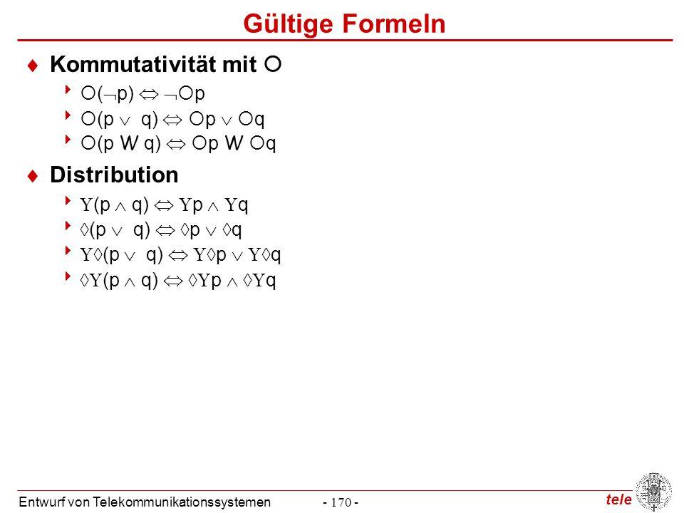 tele Entwurf von Telekommunikationssystemen- 170 - Gültige Formeln  Kommutativität mit    (  p)    p   (p  q)   p   q   (p W q)   p