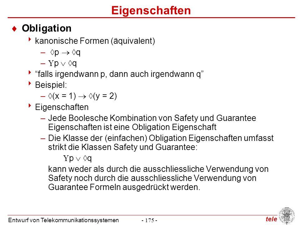 """tele Entwurf von Telekommunikationssystemen- 175 - Eigenschaften  Obligation  kanonische Formen (äquivalent) –  p   q –  p   q  """"falls irgend"""