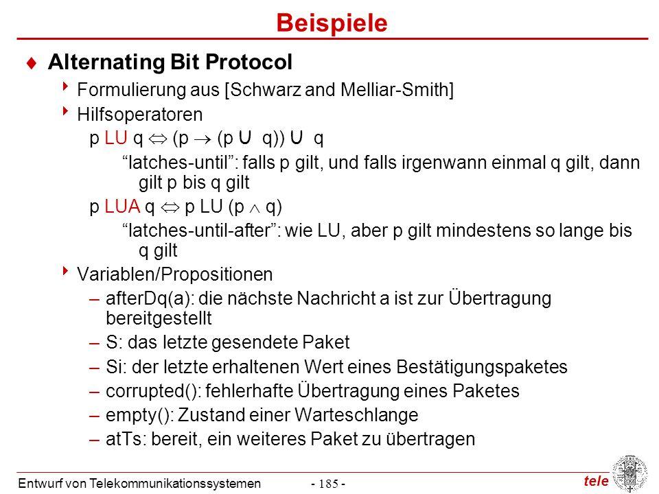 tele Entwurf von Telekommunikationssystemen- 185 - Beispiele  Alternating Bit Protocol  Formulierung aus [Schwarz and Melliar-Smith]  Hilfsoperator