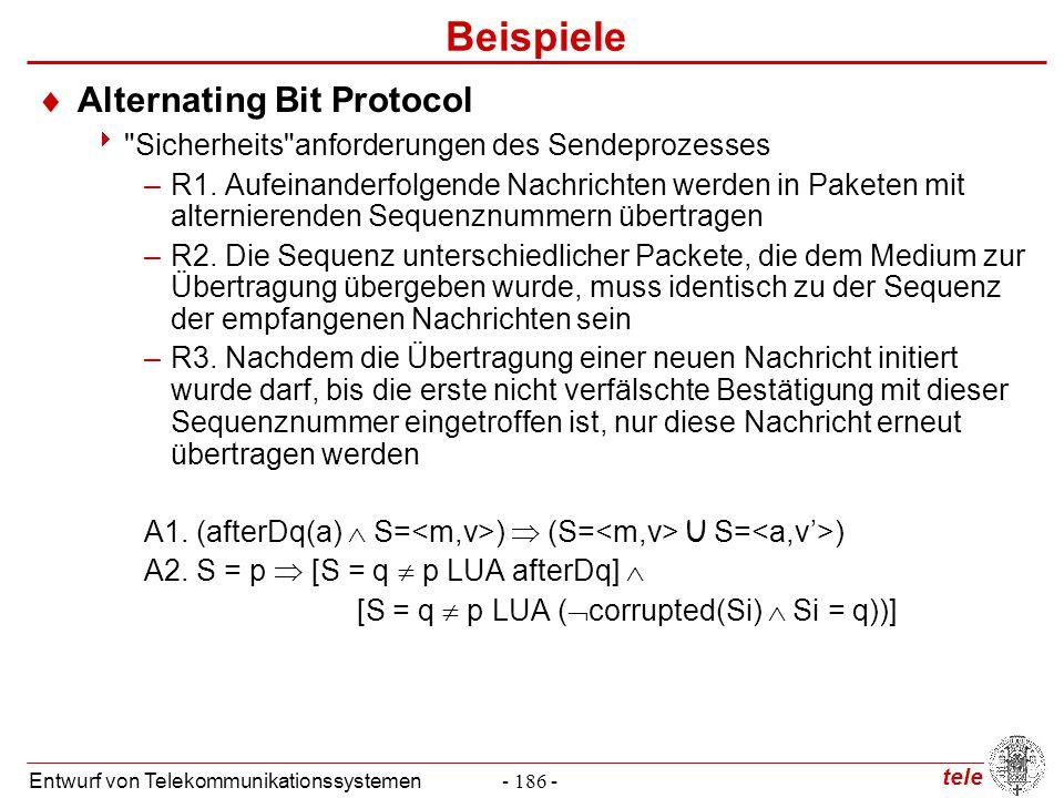 tele Entwurf von Telekommunikationssystemen- 186 - Beispiele  Alternating Bit Protocol 