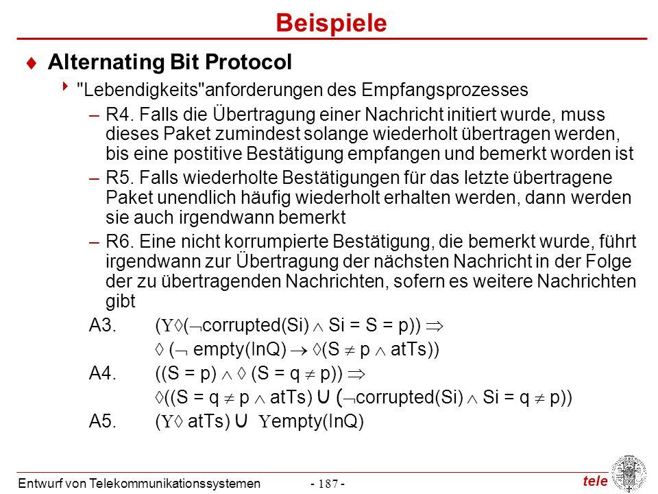 tele Entwurf von Telekommunikationssystemen- 187 - Beispiele  Alternating Bit Protocol 