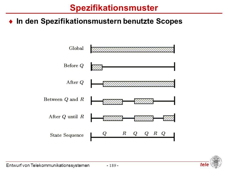tele Entwurf von Telekommunikationssystemen- 189 - Spezifikationsmuster  In den Spezifikationsmustern benutzte Scopes