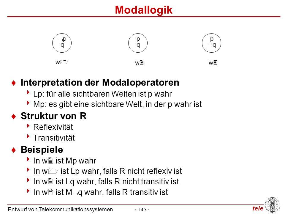 tele Entwurf von Telekommunikationssystemen- 145 - Modallogik  Interpretation der Modaloperatoren  Lp: für alle sichtbaren Welten ist p wahr  Mp: e