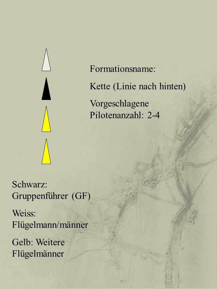 Formationsname: Kette (Linie nach hinten) Vorgeschlagene Pilotenanzahl: 2-4 Schwarz: Gruppenführer (GF) Weiss: Flügelmann/männer Gelb: Weitere Flügelm