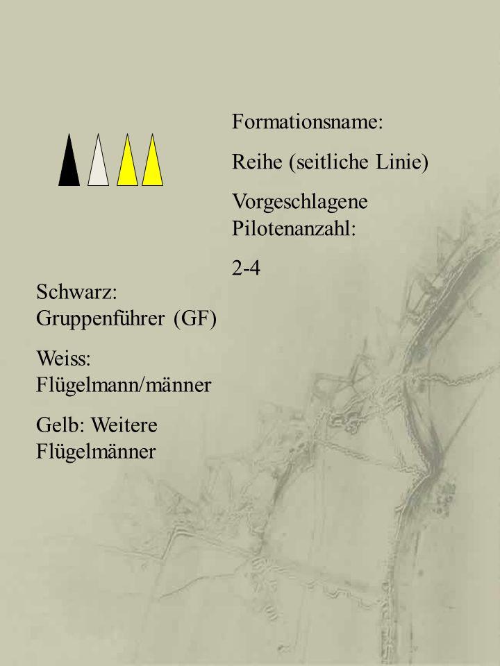 Formationsname: Reihe (seitliche Linie) Vorgeschlagene Pilotenanzahl: 2-4 Schwarz: Gruppenführer (GF) Weiss: Flügelmann/männer Gelb: Weitere Flügelmän