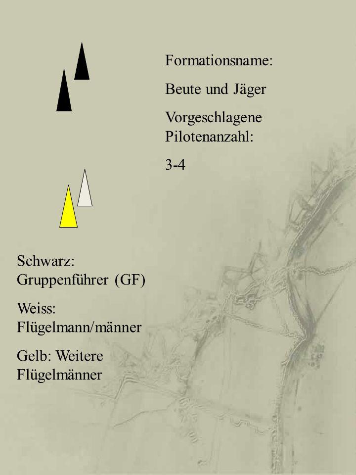 Schwarz: Gruppenführer (GF) Weiss: Flügelmann/männer Gelb: Weitere Flügelmänner Formationsname: Beute und Jäger Vorgeschlagene Pilotenanzahl: 3-4