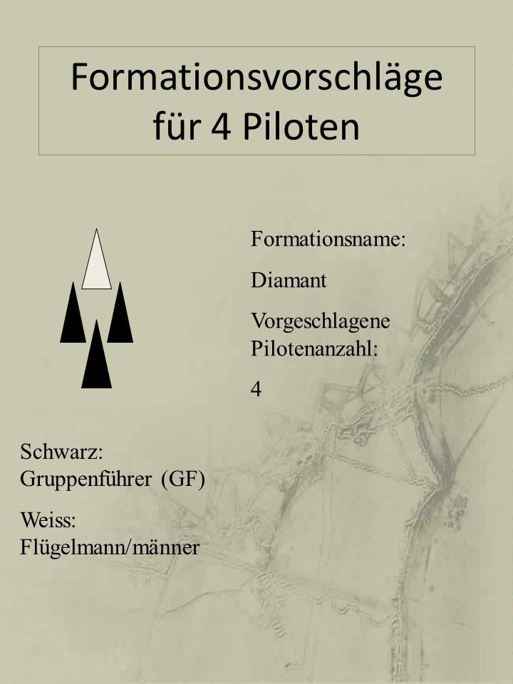 Formationsvorschläge für 4 Piloten Schwarz: Gruppenführer (GF) Weiss: Flügelmann/männer Formationsname: Diamant Vorgeschlagene Pilotenanzahl: 4