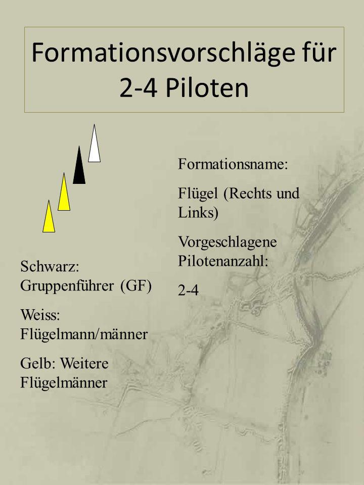 Formationsname: Kette (Linie nach hinten) Vorgeschlagene Pilotenanzahl: 2-4 Schwarz: Gruppenführer (GF) Weiss: Flügelmann/männer Gelb: Weitere Flügelmänner
