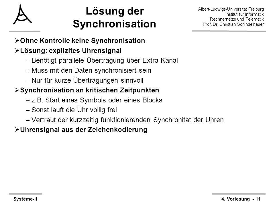 Albert-Ludwigs-Universität Freiburg Institut für Informatik Rechnernetze und Telematik Prof. Dr. Christian Schindelhauer Systeme-II4. Vorlesung - 11 L