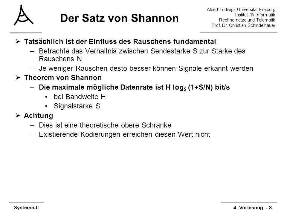 Albert-Ludwigs-Universität Freiburg Institut für Informatik Rechnernetze und Telematik Prof. Dr. Christian Schindelhauer Systeme-II4. Vorlesung - 8 De