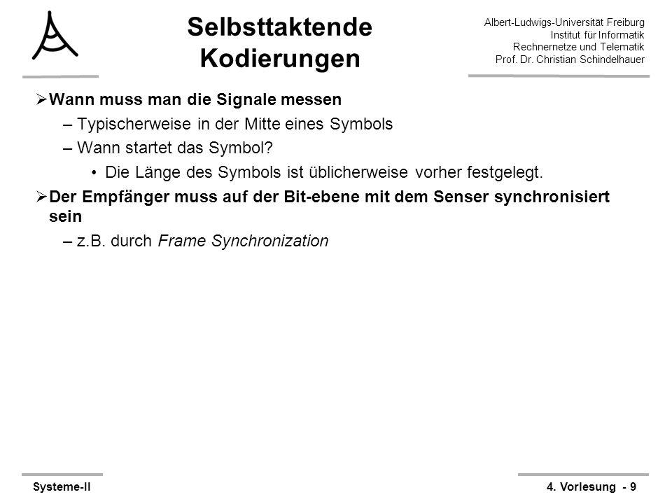 Albert-Ludwigs-Universität Freiburg Institut für Informatik Rechnernetze und Telematik Prof. Dr. Christian Schindelhauer Systeme-II4. Vorlesung - 9 Se