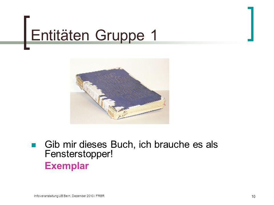 Infoveranstaltung UB Bern, Dezember 2010 / FRBR 10 Entitäten Gruppe 1 Gib mir dieses Buch, ich brauche es als Fensterstopper! Exemplar