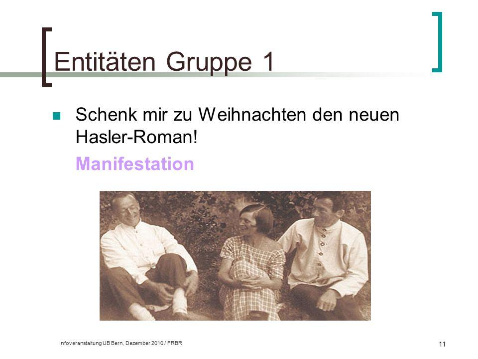 Infoveranstaltung UB Bern, Dezember 2010 / FRBR 11 Entitäten Gruppe 1 Schenk mir zu Weihnachten den neuen Hasler-Roman! Manifestation