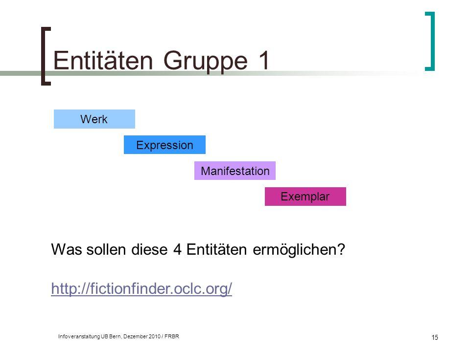 Infoveranstaltung UB Bern, Dezember 2010 / FRBR 15 Entitäten Gruppe 1 Was sollen diese 4 Entitäten ermöglichen? http://fictionfinder.oclc.org/ Werk Ex
