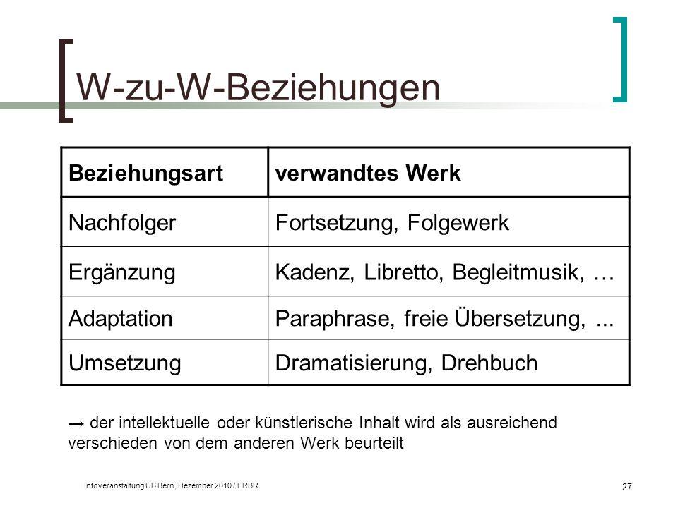 Infoveranstaltung UB Bern, Dezember 2010 / FRBR 27 W-zu-W-Beziehungen Beziehungsartverwandtes Werk NachfolgerFortsetzung, Folgewerk ErgänzungKadenz, L
