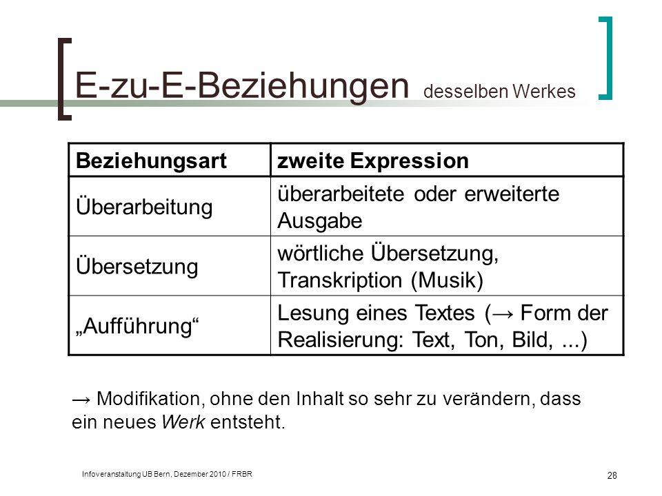 Infoveranstaltung UB Bern, Dezember 2010 / FRBR 28 E-zu-E-Beziehungen desselben Werkes Beziehungsartzweite Expression Überarbeitung überarbeitete oder