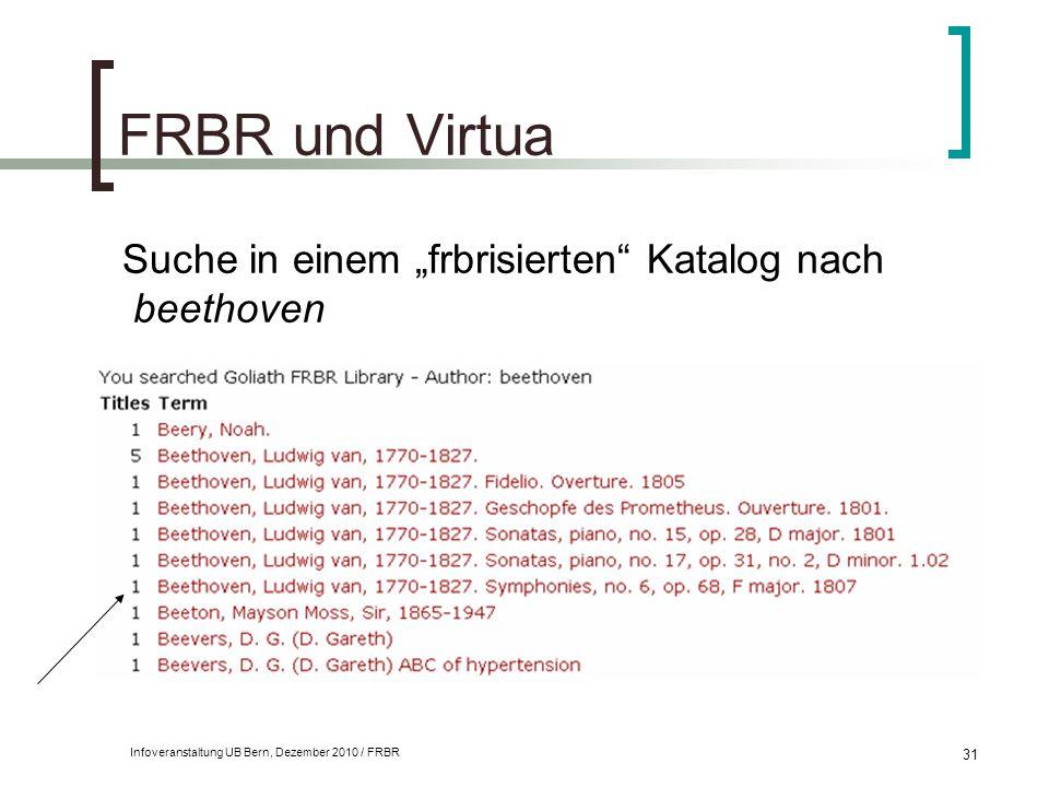 """Infoveranstaltung UB Bern, Dezember 2010 / FRBR 31 FRBR und Virtua Suche in einem """"frbrisierten"""" Katalog nach beethoven"""