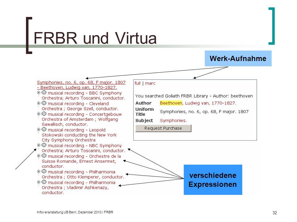 Infoveranstaltung UB Bern, Dezember 2010 / FRBR 32 FRBR und Virtua Werk-Aufnahme verschiedene Expressionen