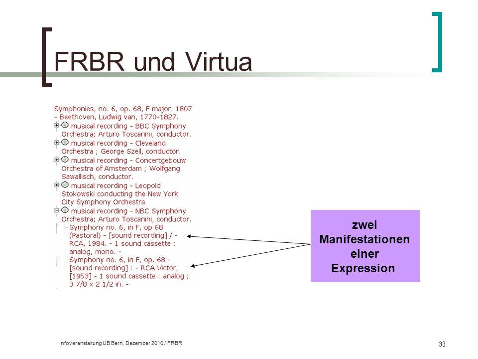 Infoveranstaltung UB Bern, Dezember 2010 / FRBR 33 FRBR und Virtua zwei Manifestationen einer Expression
