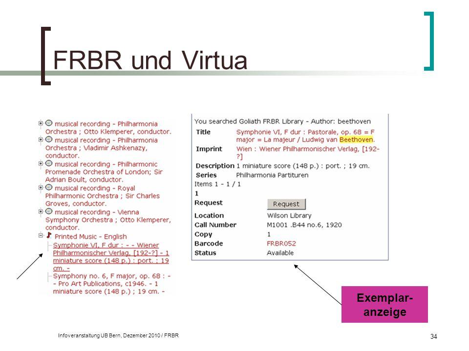 Infoveranstaltung UB Bern, Dezember 2010 / FRBR 34 FRBR und Virtua Exemplar- anzeige