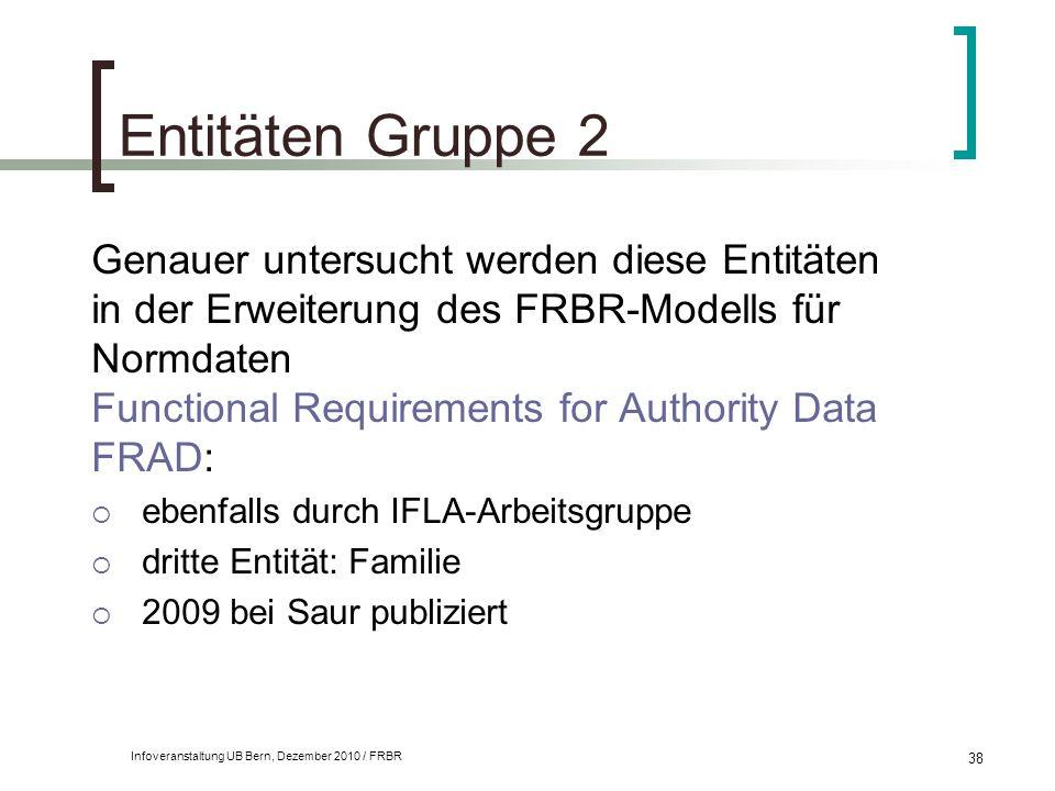 Infoveranstaltung UB Bern, Dezember 2010 / FRBR 38 Entitäten Gruppe 2 Genauer untersucht werden diese Entitäten in der Erweiterung des FRBR-Modells fü