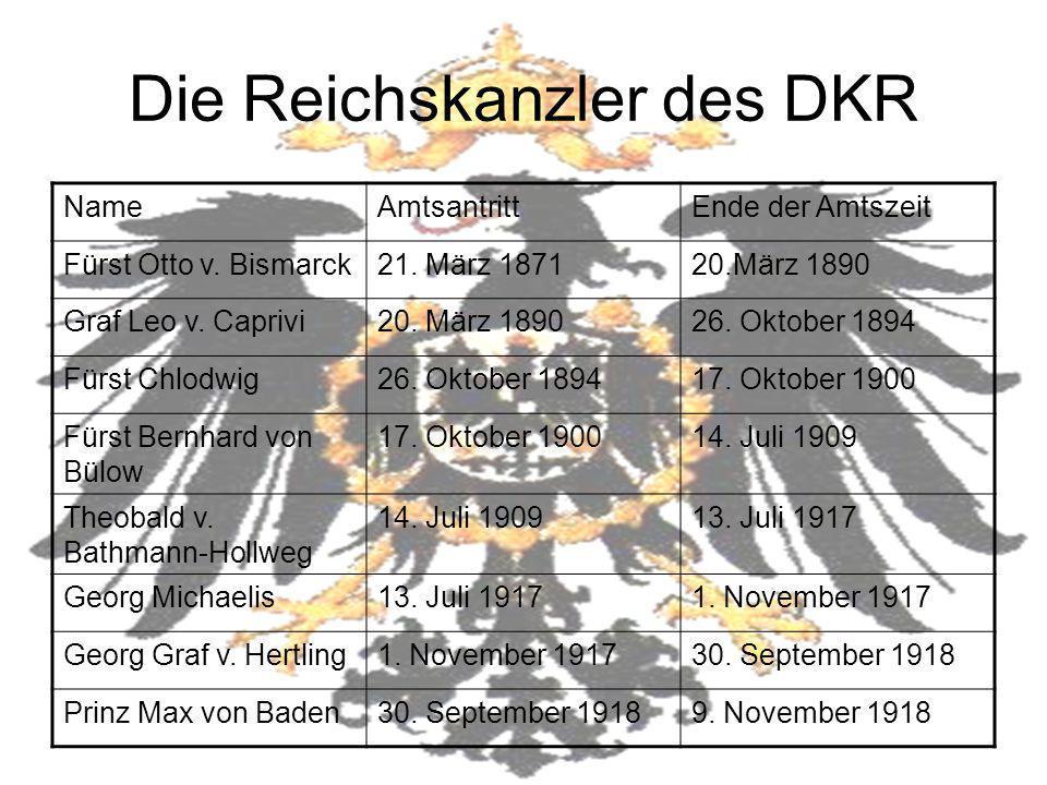 Die Reichskanzler des DKR NameAmtsantrittEnde der Amtszeit Fürst Otto v. Bismarck21. März 187120.März 1890 Graf Leo v. Caprivi20. März 189026. Oktober